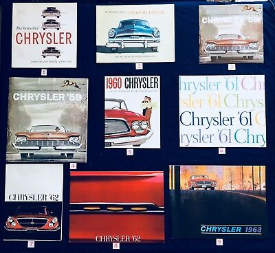 1954, '59, '60, '61, '62, '63 large size Chrysler brochures, 9 to choose from!