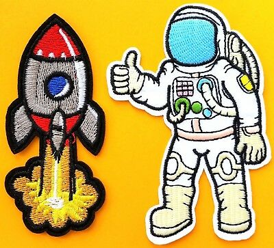 X 2 Astronaut /& Rocket Patch Set Embroidered Quality Iron On Crafts Space Man