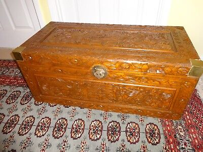 Medium highly decorated camphor chest with brass corners