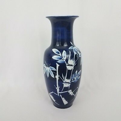 "Chinese Blue and White Vase Oriental Bamboo Tree Porcelain 10.5 "" HG117"