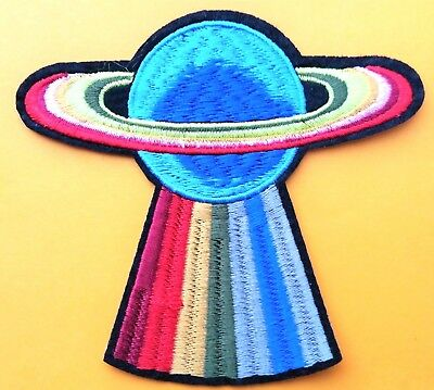 """Saturn UFO Abduction Space Rainbow Patch Embroidered Iron On Quality 4"""""""