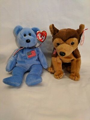 TY Beanie Babies ~AMERICA~ and ~COURAGE~ In honor of September 11, 2001. Mint!