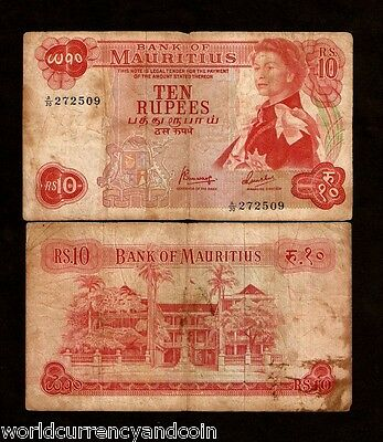 Mauritius 10 Rupees P31C 1967 Bird Flag Queen Used Bill World Currency Bank Note