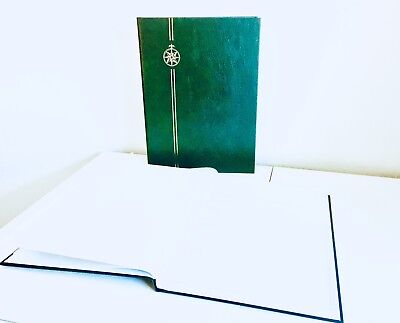 **NEW* ⭐️ GREEN STAMP STOCKBOOK ALBUM - 8 Double-Sided, White Pages (8/16)
