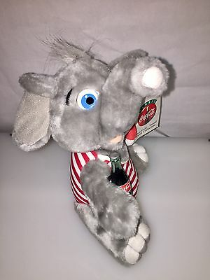 Vintage Coca-Cola Brand Gray Elephant In Striped Swimsuit Stuffed Plush New