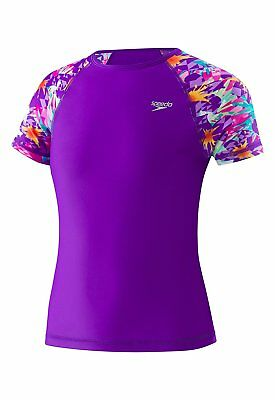 8afe6fe4b1 SPEEDO GIRL'S PRINTED Short Sleeve Rash Guard Purple Youth Small ...