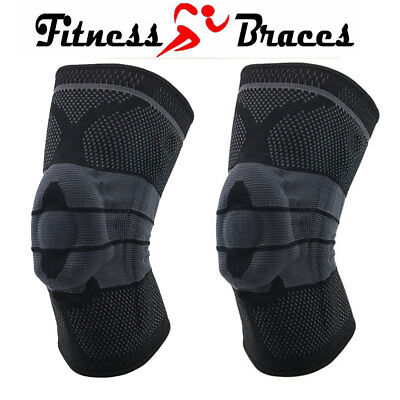 1 PAIR of Knee Protection Braces, Compression Support Sleeve Pain Relief (M-XXL)