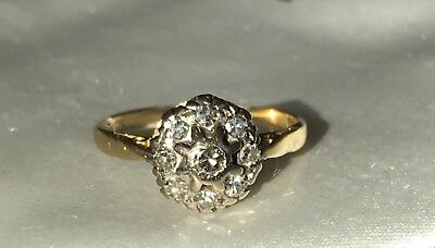 Ring 750 Gold, Diamanten, Cluster Ring Vintage