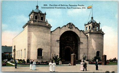 "1915 PPIE Expo San Francisco Postcard ""Pavilion of Bolivia"" Curteich Unused"