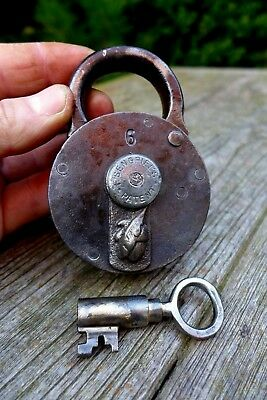 Antique Padlock with one key F.Sengpiel working order Made in Germany No.6 08-07