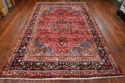 Vintage Persian Classic Floral Design Rug, 6'x10', Red/Black, All wool pile