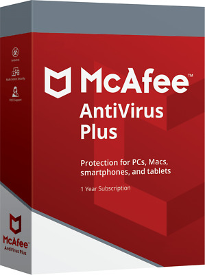 McAfee Antivirus Plus 2019 1 Year Windows/Mac/Android/iOS Unlimited Devices