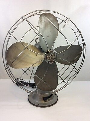 """Vintage Emerson Electric Metal Fan 3 Speed Oscillating 18"""" Steampunk Clean NICE!"""