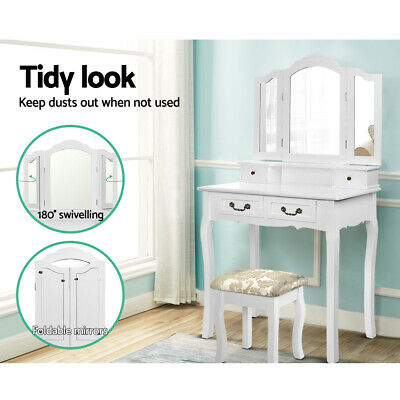 White Bedroom Dresser Foldable Mirror Dressing Table Drawers Makeup