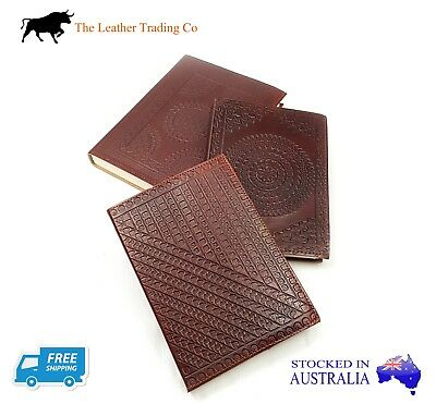 Leather Journal - Embossed Refillable Notebook - Hearts Design - Handmade Paper