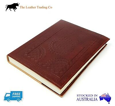 Leather Journal - Embossed Refillable Notebook - Small Circle - Handmade Paper