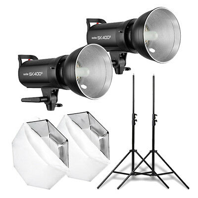 2X Godox SK400II 2.4G Studio Blitz + 95cm Bowens Softbox + Stative Set
