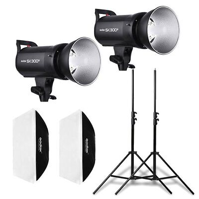 2X Godox SK300II 2.4G Studio Blitz + 60*60cm Bowens Softbox + 2m Stative Set