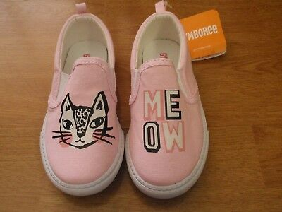 Nwt Gymboree Meow Toddler Girl Slip On Canvas Sneaker Shoes Size 6