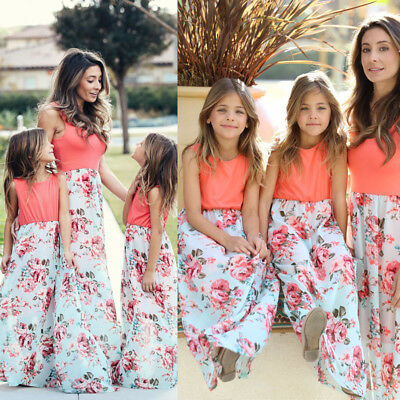 US Mother and Daughter Casual Boho Floral Maxi Dress Mommy&Me Matching Outfits