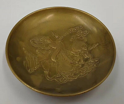 Chinese Old Brass Handmade Carved beautiful woman dish good