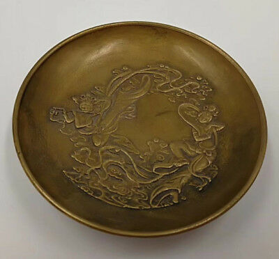 Chinese Old Brass Handmade Carved beautiful woman dish
