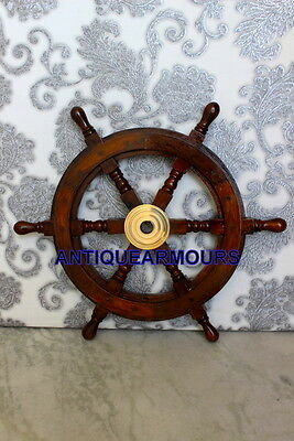 Brass Nautical Tugboat Wooden ShipsWheel Pirate Home Decor Centre Reproduction