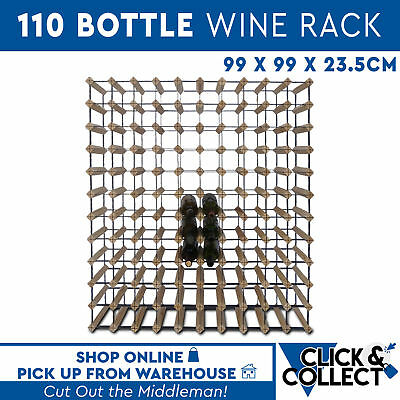 Wooden Metal Wine Rack New 110 Bottle Natural Wood Cellar Organiser PICK UP ONLY