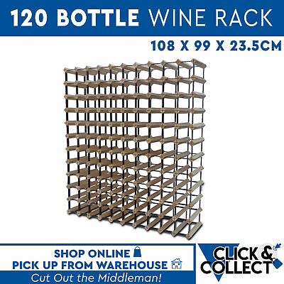 Wooden Metal Wine Rack New 120 Bottle Natural Wood Cellar Organiser PICK UP ONLY