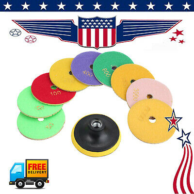 for Marble Concrete Granite 10X 4 Inch Diamond Polishing Pads Wet Dry Set Kit US