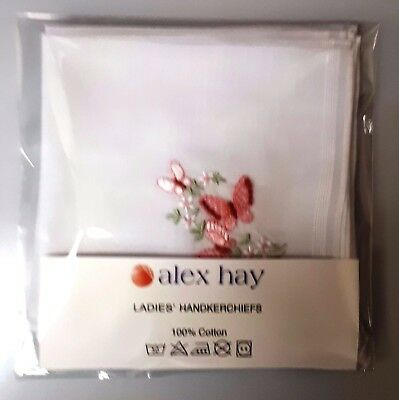 Ladies 6 pack Embroidered Handkerchiefs White with  3 colours Floral Embroidery