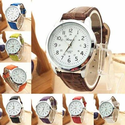 Women Mens Dress Watch Leather Strap Casual Sports Analog Quartz Wrist Watch US