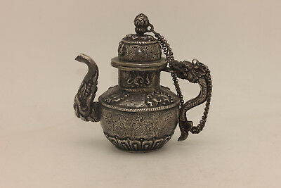 Antique Original Silver Asian Chinese Dragon Decorated Amazing Small Tea Pot