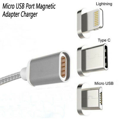 Magnetic Micro USB Charging Cable Adapter Charger For IOS iPhone Type-C Android