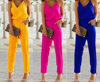Jumpsuit Damenoverall Overall Sommer Gr. 34 36 38 40 blau pink gelb