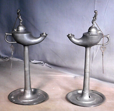 Pair Antique Pewter Ancient Roman Style Venus Genie Lamps Fat Oil AS IS