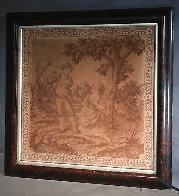 Antique 19th c. French Sepia Tone Tapestry Faux Burl Wood OGEE Picture Frame OLD