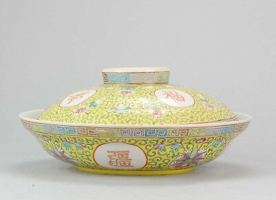 19/20C Large Lidded Bowl Caligraphy Flowers Chinese Porcelain Dish Guangxu