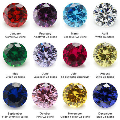 4~10mm Birthday Stone 1pcs Per Colors  Loose Round Cubic Zirconia CZ Gemstone