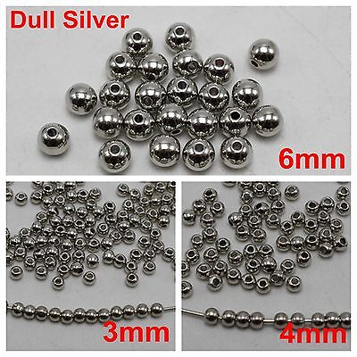 Dull Silver Metallic Acrylic Round Beads Smooth Ball Spacer 3mm 4mm 6mm