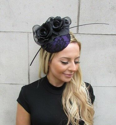 Black Dark Purple Rose Flower Feather Pillbox Hat Hair Fascinator Races 5621