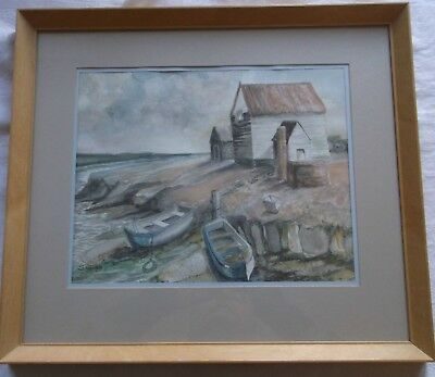 FRAMED WATERCOLOUR PAINTING signed S.GRAY FISHING HUTS BY THE WATERS EDGE
