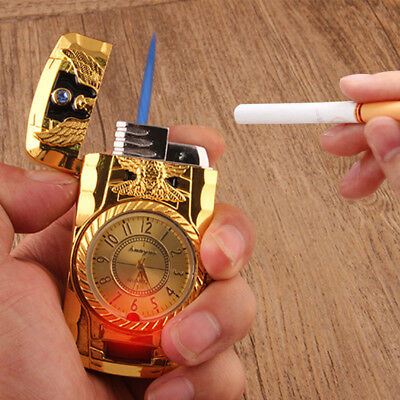 Fashion Metal Windproof Jet Torch Gas Butane Cigarette Lighter Bird Quartz Watch