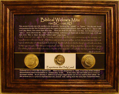 1 Framed Ancient Widows Widow's Mite Coin on Modern Israeli Israel 5 Agorot Coin