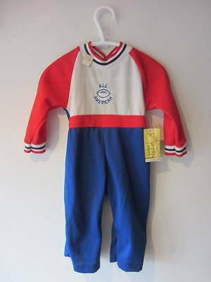 vintage childs playsuit red white blue All American football age 1 or large doll