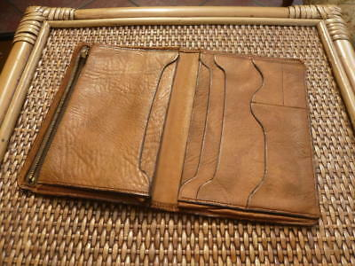 Good Quality Genuine Vintage Old 1930S Large Size Real Tan Leather Jacket Wallet