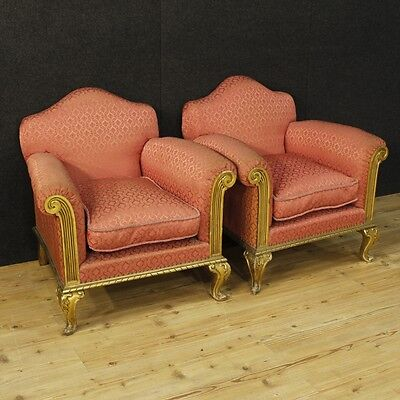 Pair of armchairs golden furniture wooden chairs living room antique style