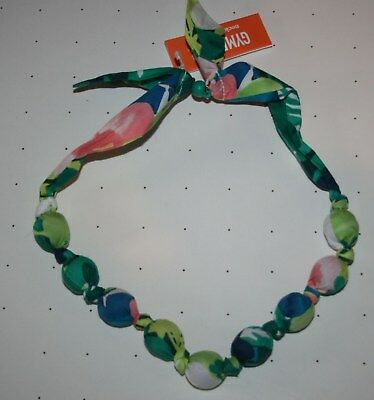 New Gymboree Sunny Safari Line Floral Fabric Covered Bead Necklace One Size NWT