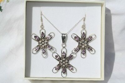 Sterling Silver Seed Pearl & Amethyst Earrings & Pendant Necklace Boxed and New