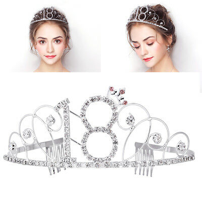 Happy Birthday 18th Birthday Crown Crystal Rhinestone Shiny Tiara Headpiece